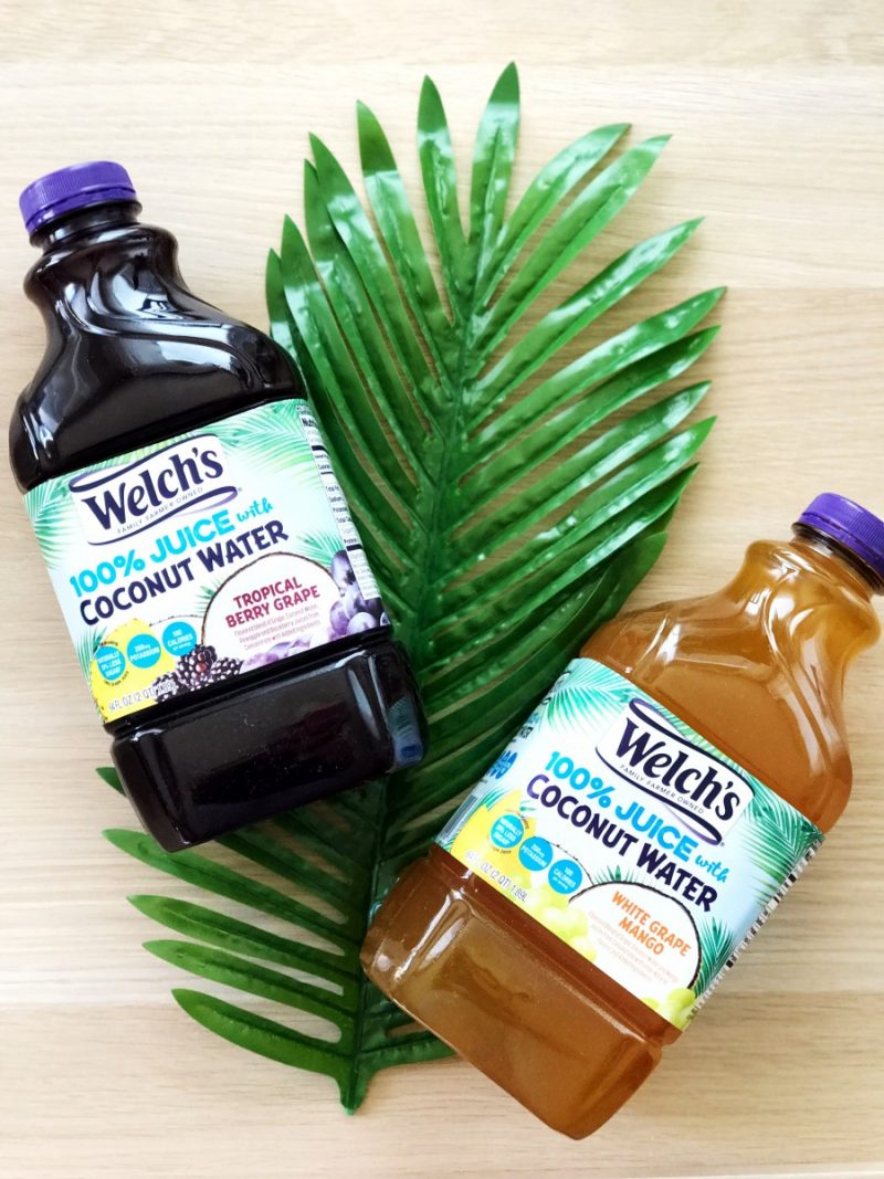 welchs, juice, coconut water, grape juice, no sugar added, less sugar, natural hydration, healthy hydration, 100 calories