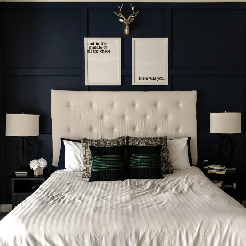diy accent wall, paint, 100, hundred, bedroom, master bedroom diy, love alfa, home decor, navy decor, gold decor, tufted headboard