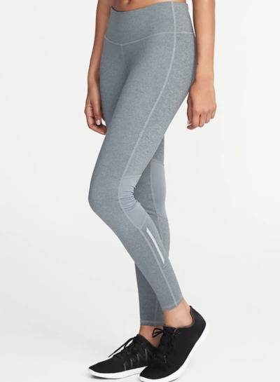 High-Rise Heathered-Panel Run Leggings for Women