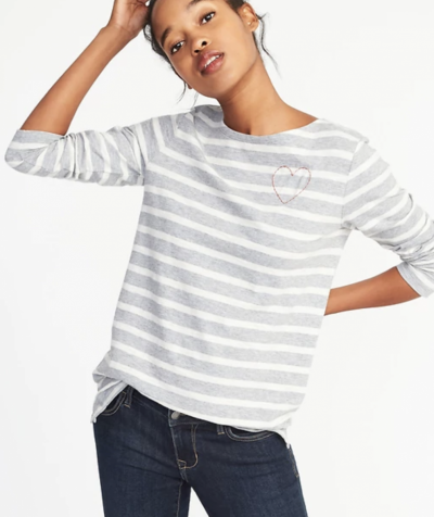 Gray Striped Relaxed Mariner-Stripe Tee for Women