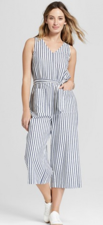 Women's Cropped Stripe Jumpsuit – Universal Thread™ Navy Stripe