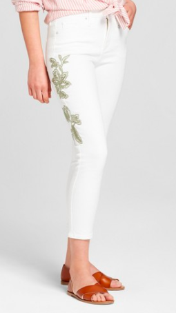 High-Rise Embroidered Skinny Crop Jeans
