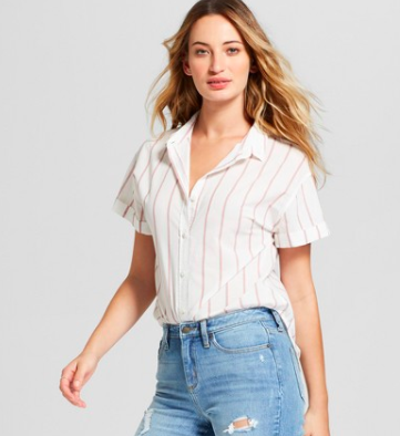 Striped Short Sleeve Button Down Shirt