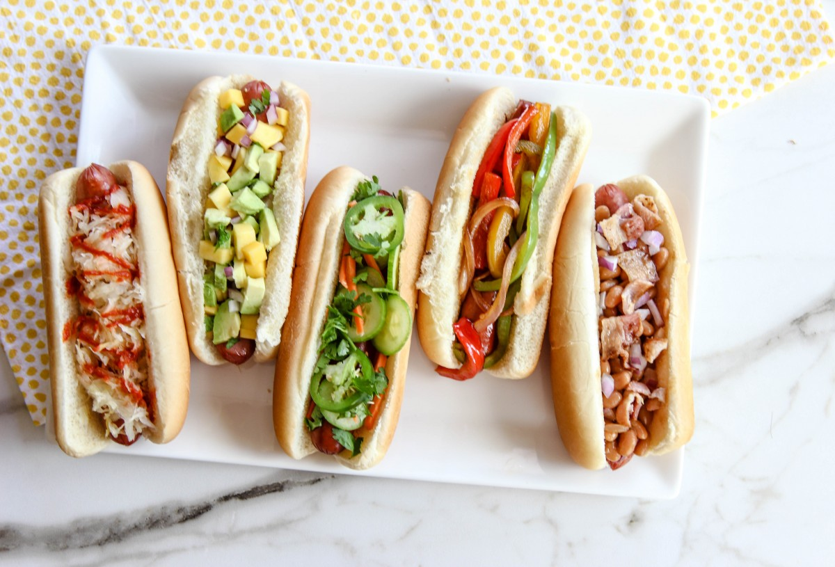 hot dog, fourth of july recipes, labor day recipes, memorial day recipes, burger bar, hot dog bar, hot dog recipes