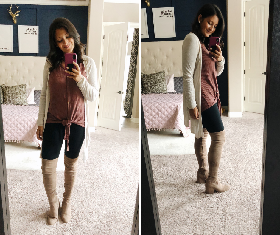 waffle tie shirt, leggings, converse, comfy mom outfit, over the knee boots