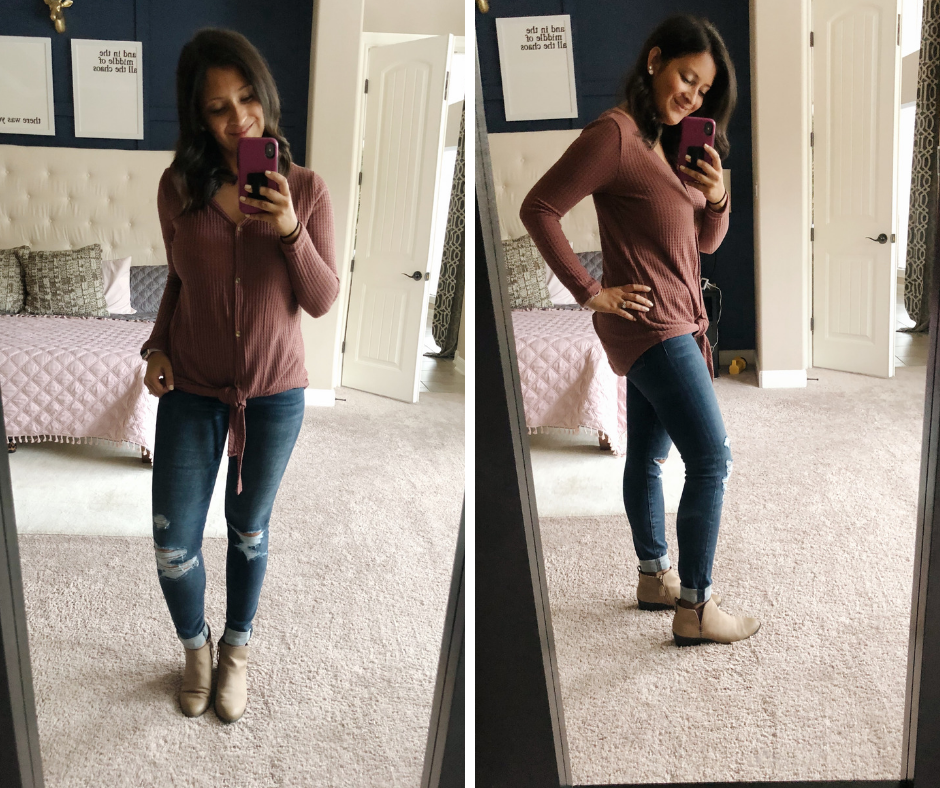 waffle tie shirt, leggings, converse, comfy mom outfit, booties, jeans