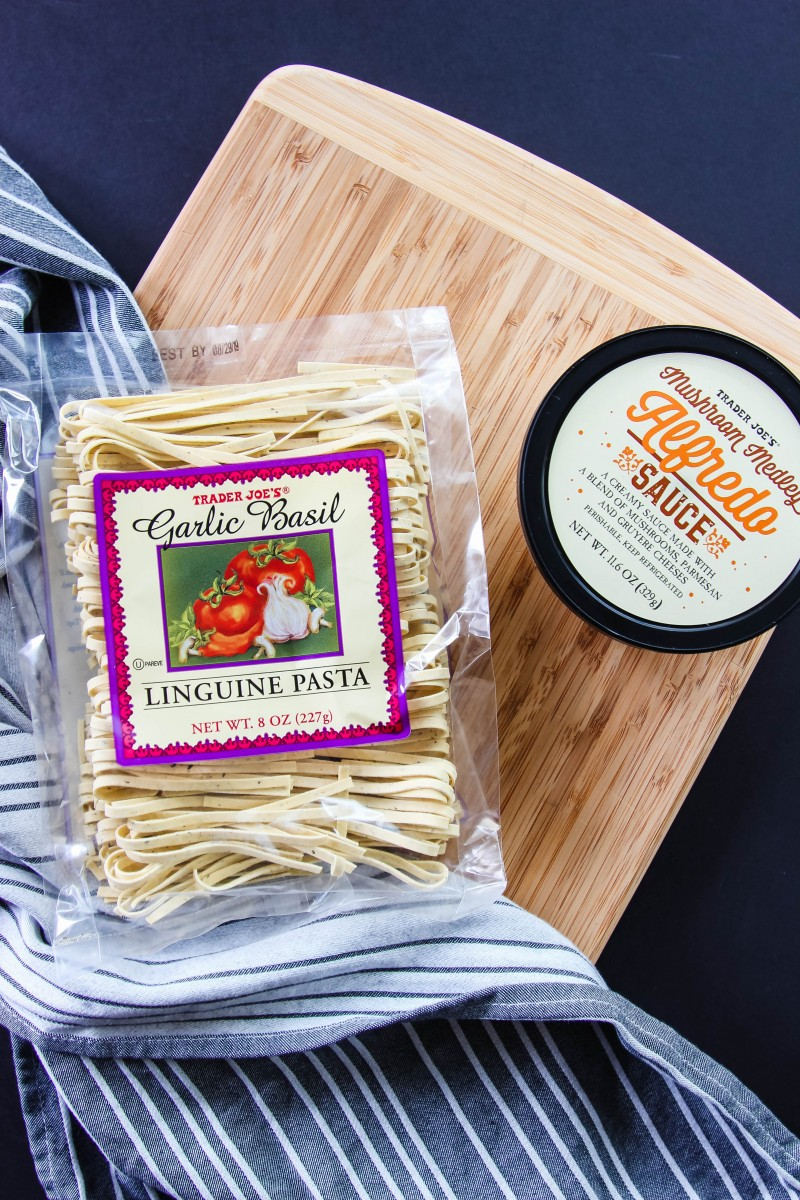 trader joe's meal ideas, easy pasta recipes, alfredo recipes, two ingredient meals, pasta with pancetta, trader joe's recipes