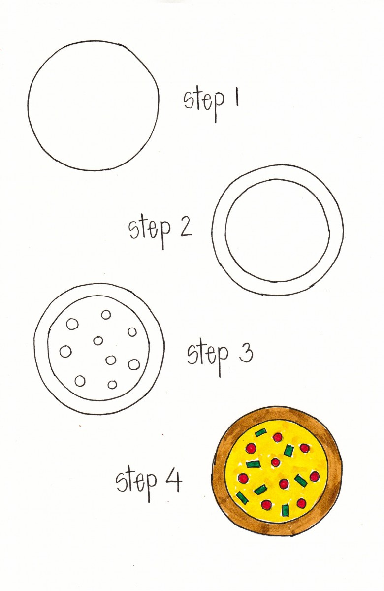 how to draw a pizza, pizza doodle, pizza bullet journal