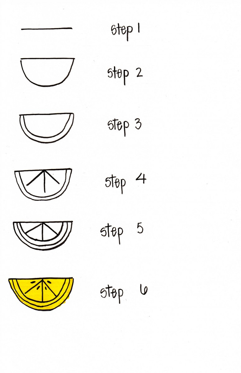 how to draw a lemon, lemon doodle, easy lemon art