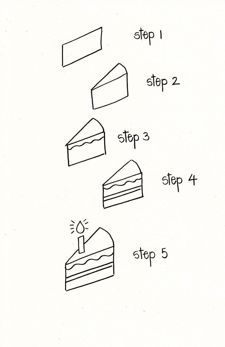 how to draw a cake, how to draw a slice of cake, love alfa slice of cake, birthday doodle, cake doodle, birthday bullet journal