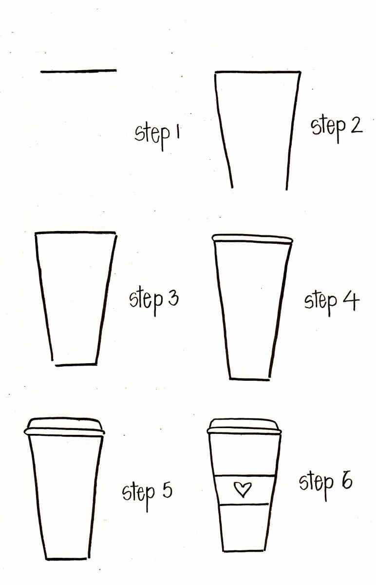 coffee doodle, bullet journal ideas, bullet journal coffee, how to draw a coffee cup, coffee cup doodle
