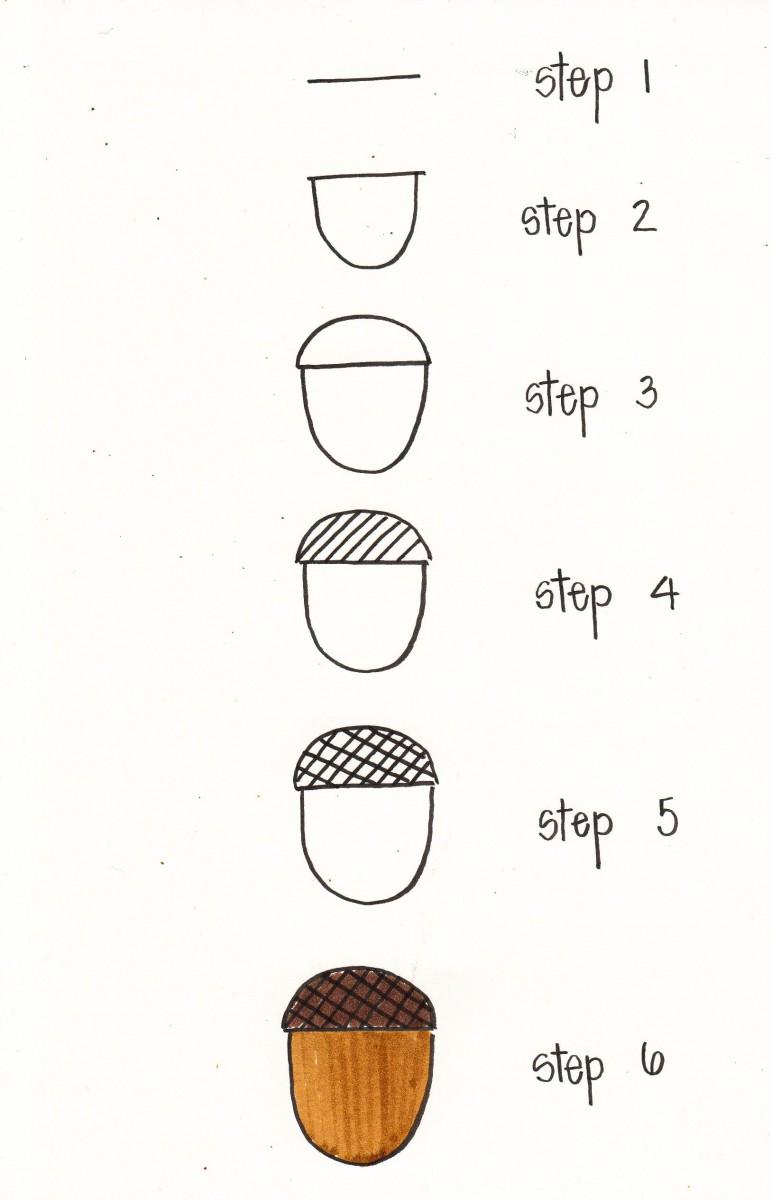 autumn doodles, autumn bullet journaling, fall bullet journal, how to draw an acorn, acorn doodle