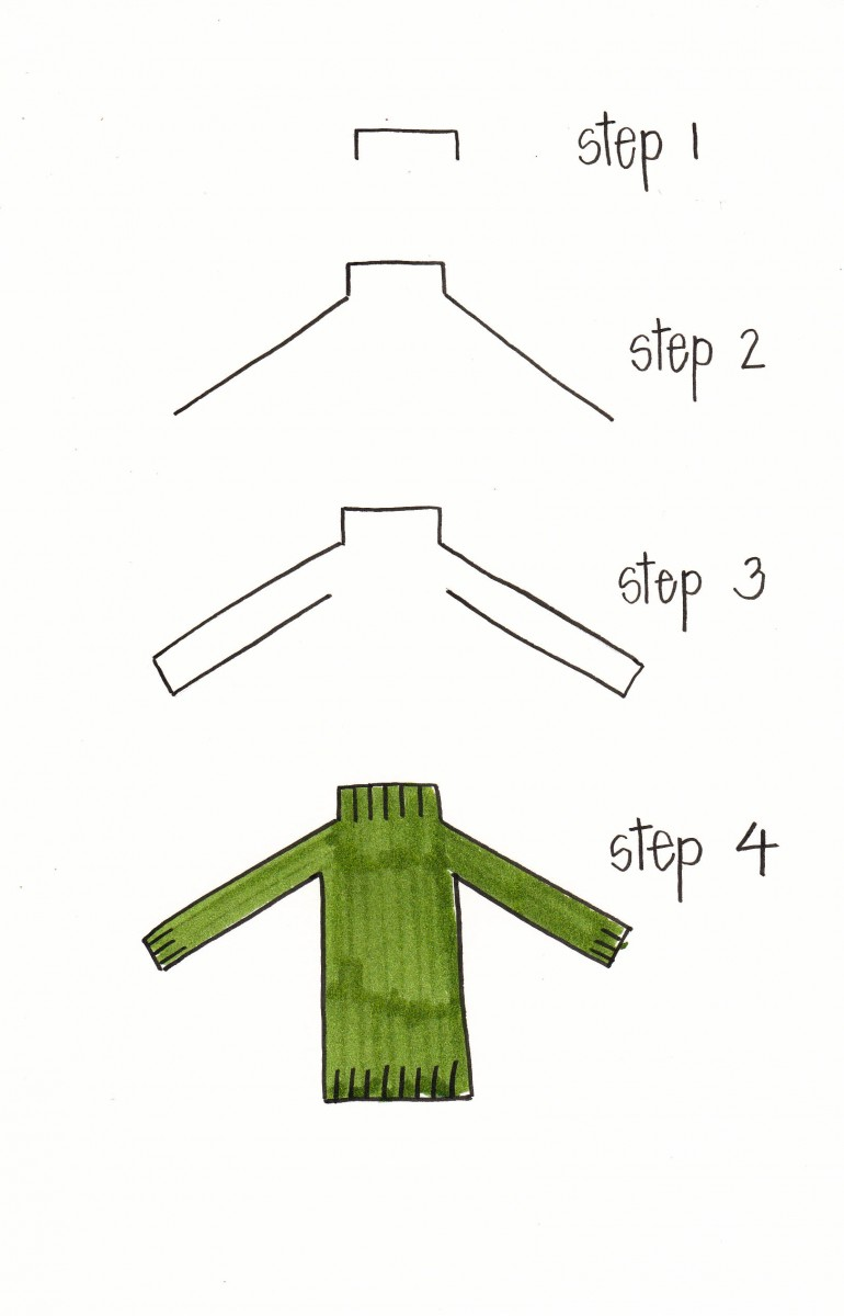 how to draw a sweater, how to draw a turtleneck, sweater doodle, turtleneck doodle, autumn doodle, fall doodles, sweater bullet journal, love alfa sweater doodle, love alfa turtleneck doodle