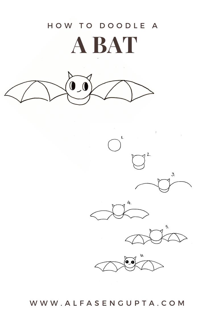 how to draw a bat, love alfa doodles, alfa the artist