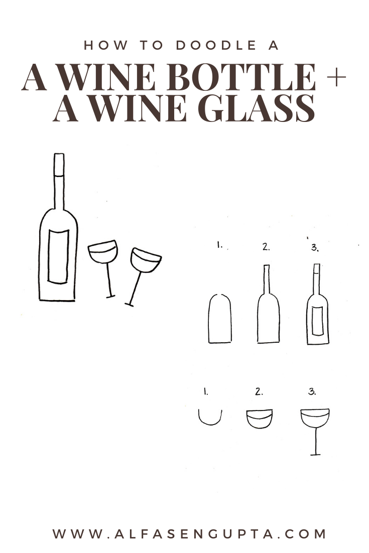 how to doodle a wine bottle, how to doodle a glass of wine