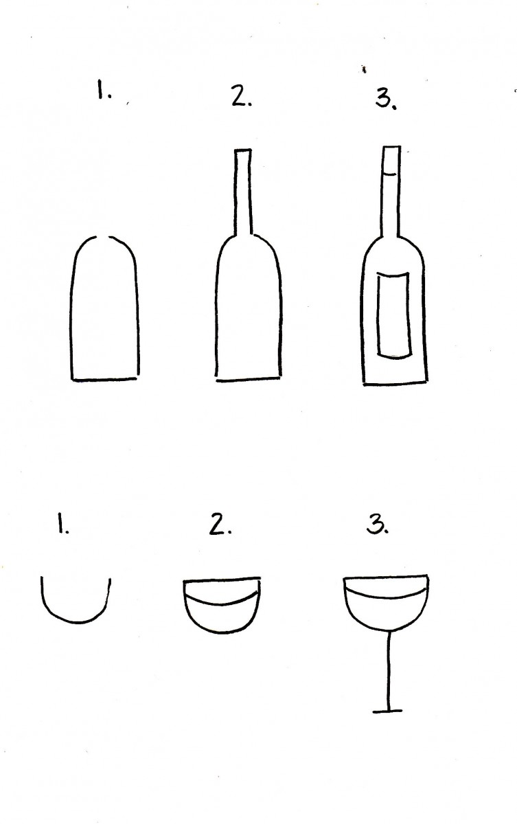 how to draw a wine bottle, how to draw a wine glass, wine bottle doodle, love alfa doodles, alfa the artist, bullet journal ideas