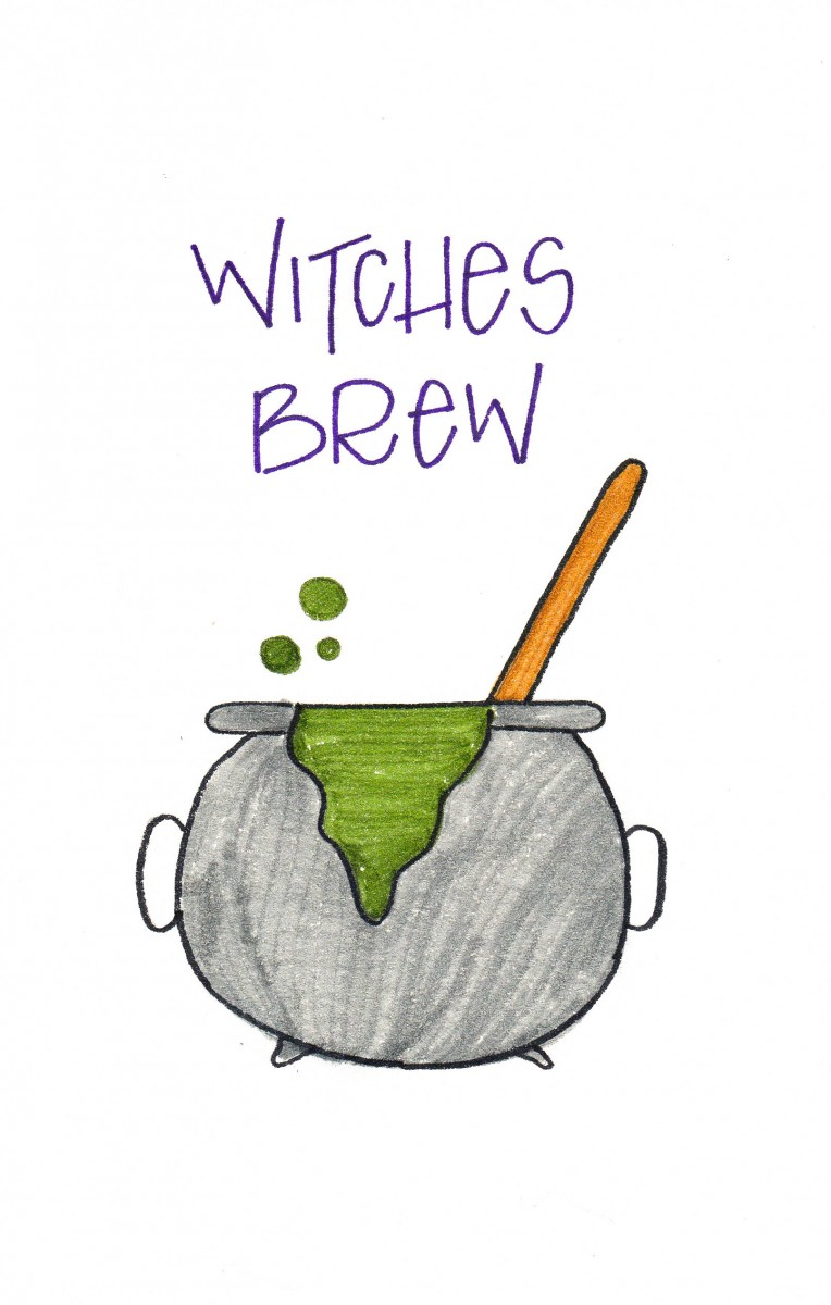 witches brew, love alfa doodles, alfa the artist, how to draw a cauldron, cauldron doodle, easy halloween doodles, halloween bullet journal
