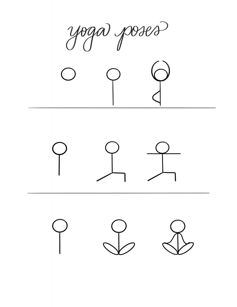 how to doodle yoga poses, yoga doodles, yoga motivation, yoga doodle, workout doodles, alfa sengupta, easy doodles, easy workout bullet journal
